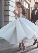 Backless Vestido De Noiva 2020ราคาถูกงานแต่งงานชุดบอลชุดสายสปาเก็ตตี้ซาตินBohoดูไบคำงานแต่งงานชุดเจ้าสาว