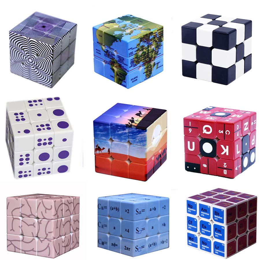 Custom Made Magic Cube 3x3x3 UV Print Professional Speed Cube Puzzle Neo Cubo Magico Stickerless Educational Toys For Children