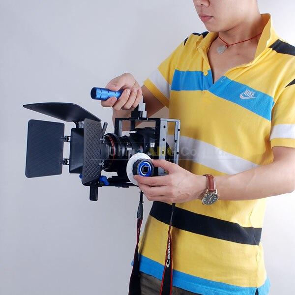 DSLR Rig Professional Camera Cage set + 15mm Rod Block Plate + Follow Focus + Matte Box Kit for 5D Mark II III 7D 5DII 5DIII стоимость