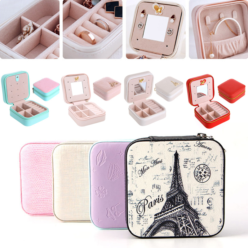 1pcs Fashion Cosmetic Faux Leather Jewelry Box Necklace Ring Travel Storage Case