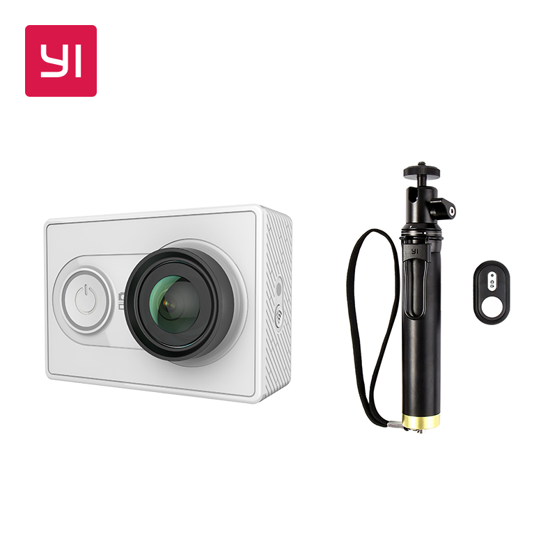 YI 1080P Action Camera White With Selfie Stick Bundle Mini Sport Camera High Resolution WiFi And
