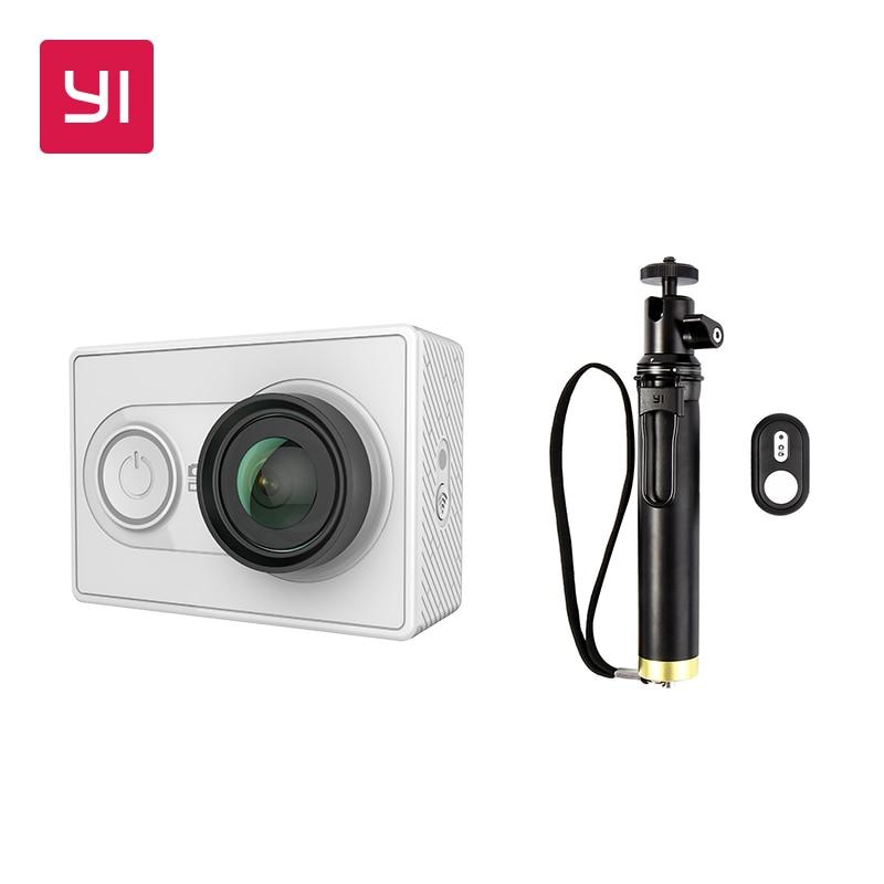 YI 1080 P Câmera de Ação Branco Com Selfie Vara Pacote Mini Câmera Esporte de Alta-Resolução WiFi e Bluetooth