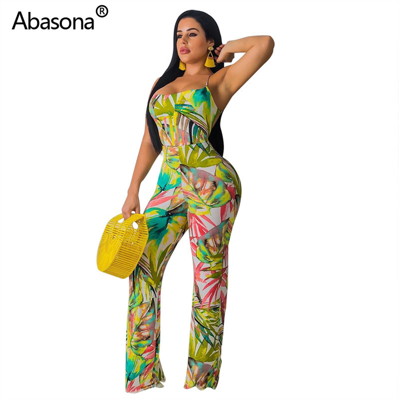 Abasona New Sleeveless Strapless Multicolor Print Full Length Loose Jumpsuit Fashion Sexy Casual Beach Bodysuit for Party Club(China)