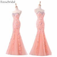 In Stock Sexy Sweetheart Appliques Evening Dress Sleeveless Crystal Sequined Mermaid 2017 Long Formal Dress Abendkleider