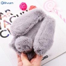 Cute Cartoon Fluffy Rabbit Plush Fur Silicone font b Phone b font Cases For XiaoMi RedMi