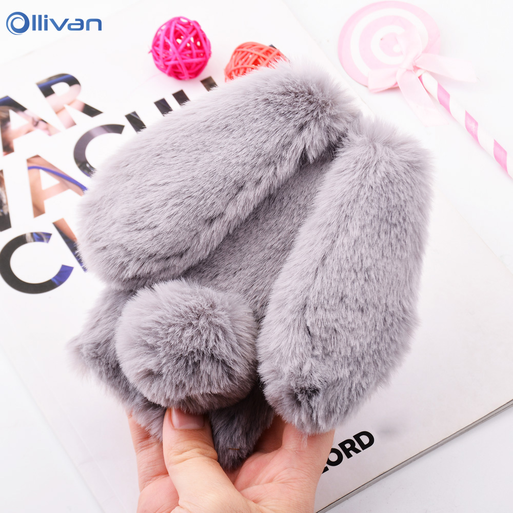 Cute Cartoon Fluffy <font><b>Rabbit</b></font> Plush Fur Silicone Phone Cases For <font><b>XiaoMi</b></font> <font><b>RedMi</b></font> Note 7 8 <font><b>6</b></font> Pro Cover XioMi <font><b>RedMi</b></font> <font><b>6</b></font> 6A 7A Note6 Coque image