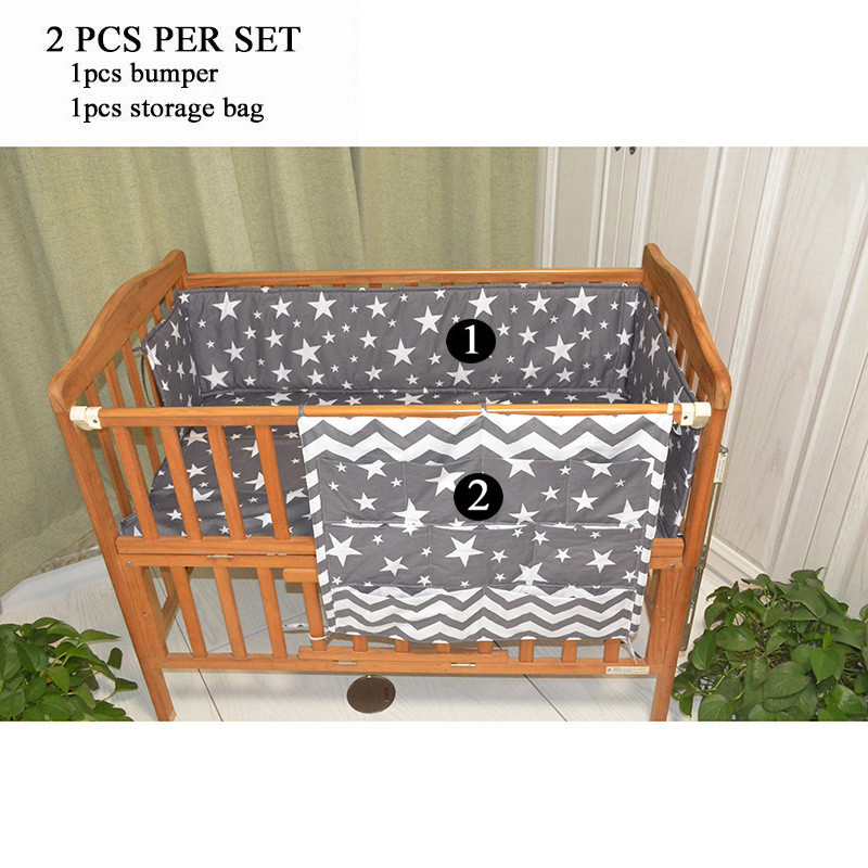 Baby Multi-Function Bed Bumper Crib Bumper Cartoon Print Crib Accessories Baby Stuff Hanging Storage Bag for Newborn Cribs ...