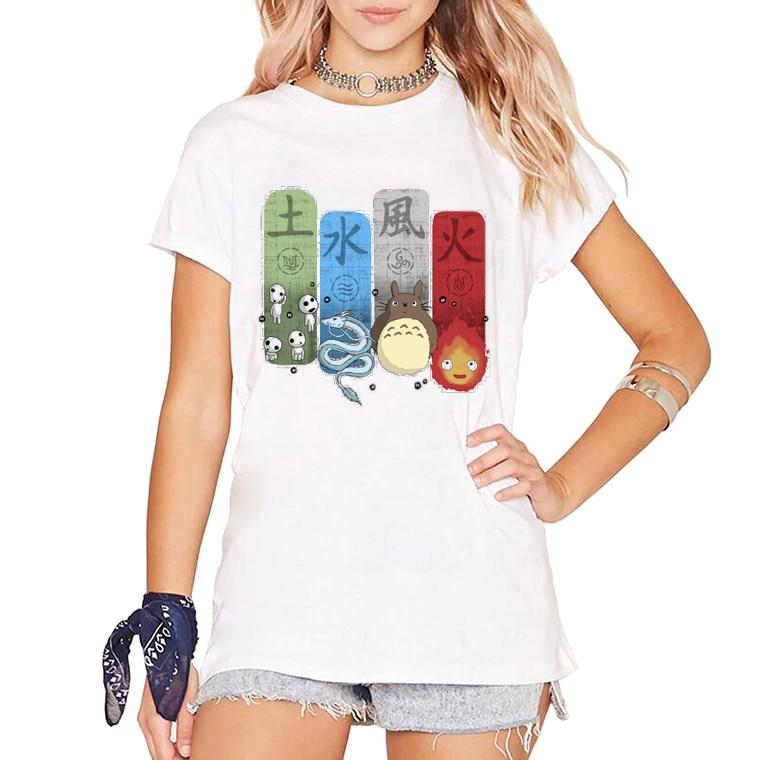 Mulheres Bonito do Anime camisetas Ghibli Elemental Encantos/Pokemon Monstros Kanji Hipster Comics Impressão Camiseta Manga Curta tee