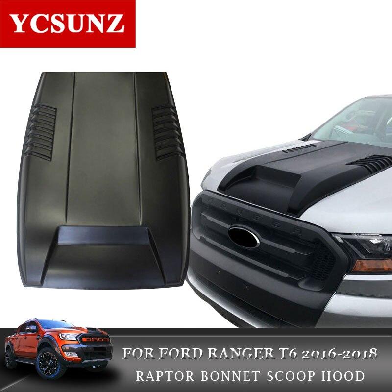 2016-2018 Black Bonnet Scoop Hood For Ford Ranger T7 Black Bonnet Hood For Ford Ranger T7 For Ford Endeavour Everest Ycsunz цена