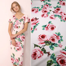 Summer cloth stretch cady fabric pink rose printed polyester fabric tissus women