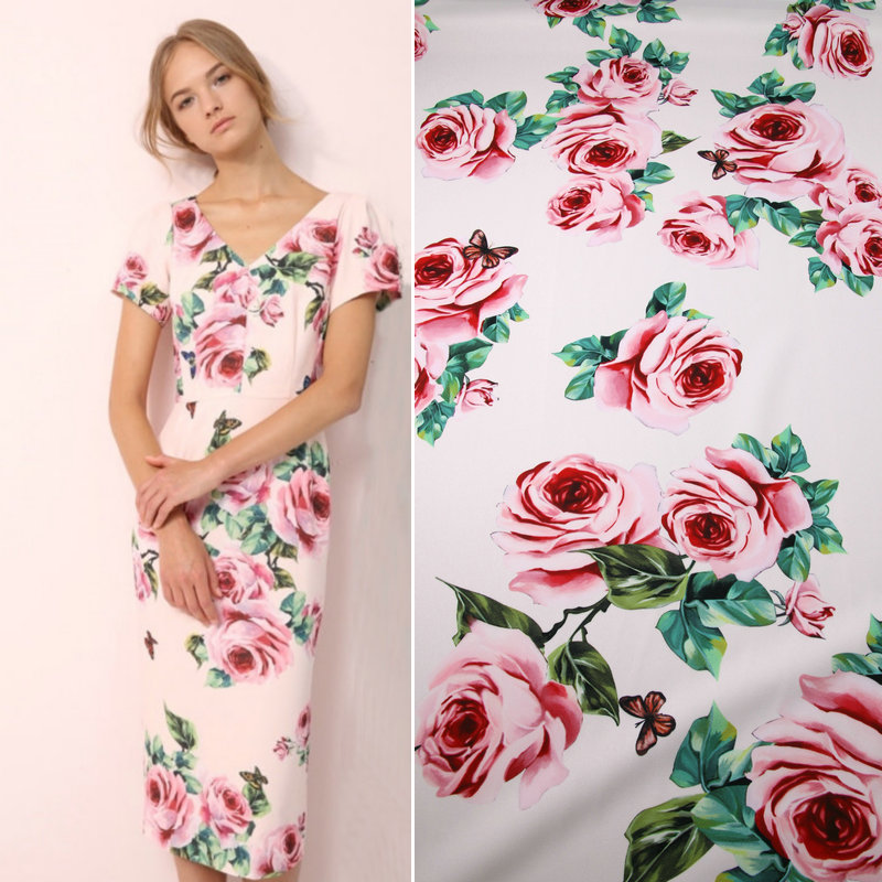 Summer cloth stretch cady fabric,pink rose printed polyester fabric tissus,women dress DIY clothing patchwork,thick soft tissu