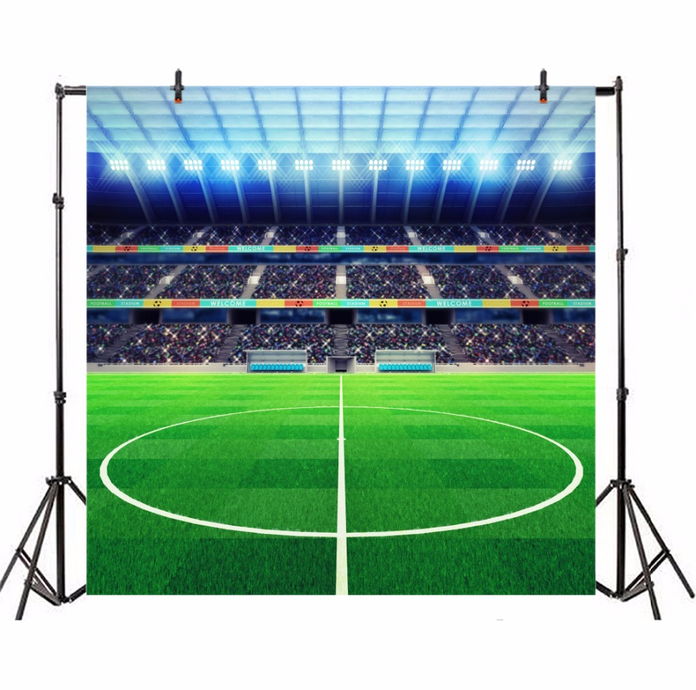Laeacco Soccer Stadium Green Grass Lawn Football Spotlight Child Portrait Photography Backdrops Photo Backgrounds Photo Studio in Background from Consumer Electronics