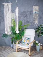 Morocco Macrame Wall Art Hand made Dyed Cotton Wall Hanging Tapestry Bohemia Tassel Boho Home Decor Living Room Wall Decoration