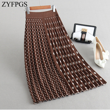 ZYFPGS 2019 Winter Top Womens Wool Short Skirt Asymmetry wave Small dot Fashion Classical Sexy Outside Slim Warm Z1102