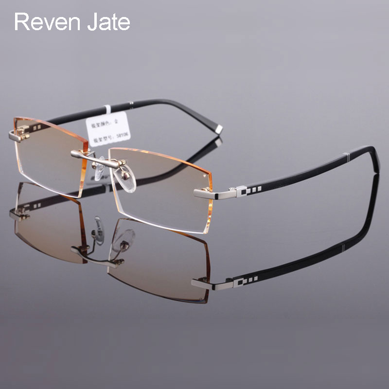 ddfd6f27d8 Reven Jate 58112 Pure Titanium Rimless Diamond Cutting Man Glasses Frame  Optical Prescription Eyeglasses Men Eyewear Fashion-in Eyewear Frames from  Apparel ...