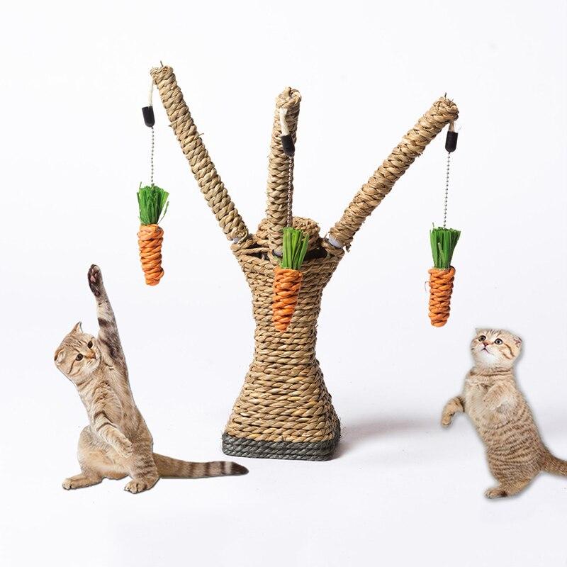 Gato de juguete interactivo árbol estantes escalada de rascador de Sisal cuerda con Gato limpieza masticar rábano