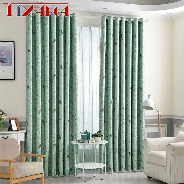 Rustic Flower Bird Blackout Coffee Curtains For Living Room Green Fabric Curtain Kids Bedroom Cartoon