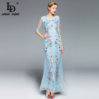 High Quality 2017 Maxi Dress Women S Elegant Blue Tulle Gauze Floral Embroidery Sheath Bodycon Casual