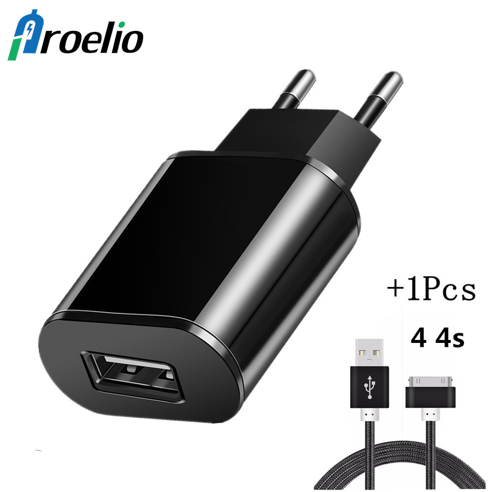 USB Charger 5V 2A EU Plug Adapter Wall Mobile Phone Charger Portable Charge USB Cable For iPhone 4 4s iPad 2 3 iPod 30 Pin Cable
