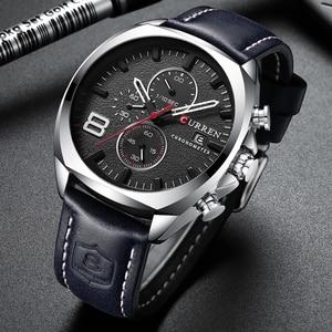 Image 3 - CURREN Reloj de pulsera deportivo para hombre, correa de cuero, cronógrafo, resistente al agua, 30 M, 2019