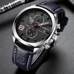 Image 3 - Luksusowa tarcza marki CURREN męski zegarek skórzany z chronografem na pasku Sport zegarki męskie biznes zegarek zegar wodoodporny 30 M 2019