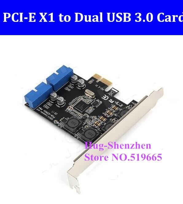 Cartão para Desktop a Dupla de 19 x1 para 2 Pinos Pci-e Pci Express Pcie Portas Usb3.0 19pin Adaptador Cabeçalho Óptico Unidade – 20 Usb 3.0