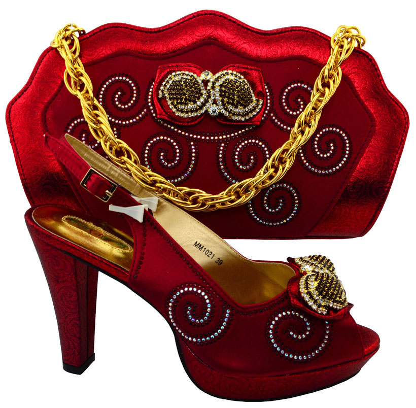 ФОТО Wine Shoes and Bag To Match Italian African Shoes and Bag Set for Party In Women Italian Matching Shoe and Bag Set For MM10121