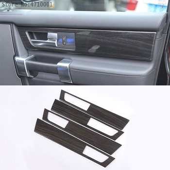ABS Black Wood Grain Car Interior Door Handle Panel Cover Trim For Land Rover Discovery 4 LR4 2009-2016 Auto Accessories