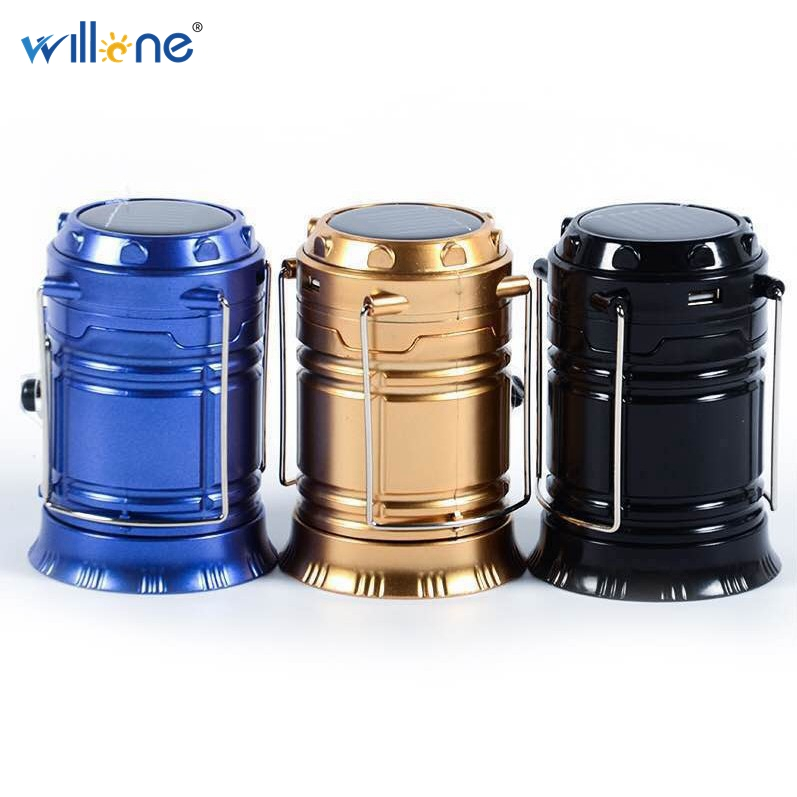 Willone 1 set free shipping portable solar lantern camping light rechargeable with  lithium battery hand lamp