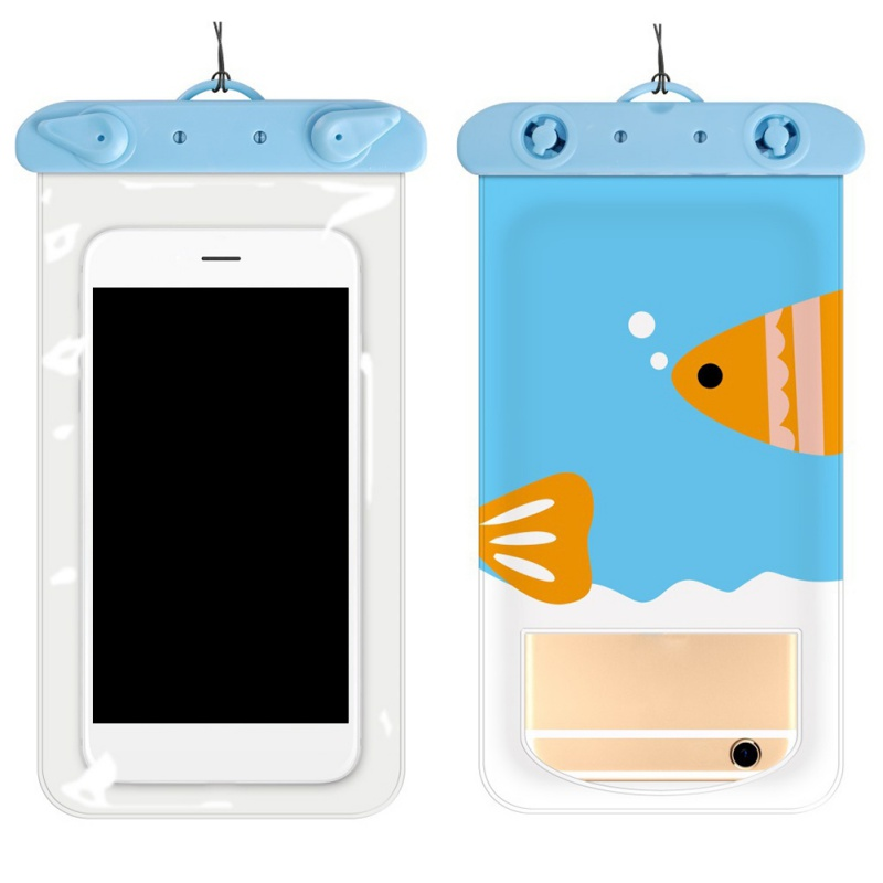 Summer Beach Sport Mobile Phone Printed Cartoon Waterproof Bag For Snorkeling Swimming Diving Rafting Transparent Underwater