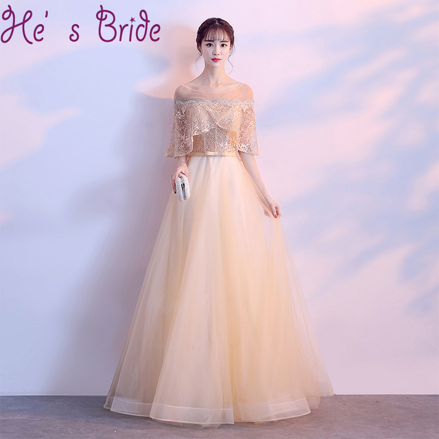 519da71305e Evening Dress Elegant Gold Sheer Scoop Neck Lace Up Back A Line Tulle Lace  Lllusion Beaded Tulle Modern Lace Party Prom Dress