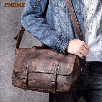 PNDME luxury simple genuine leather men's shoulder bag casual vintage large capacity soft first layer cowhide messenger bag