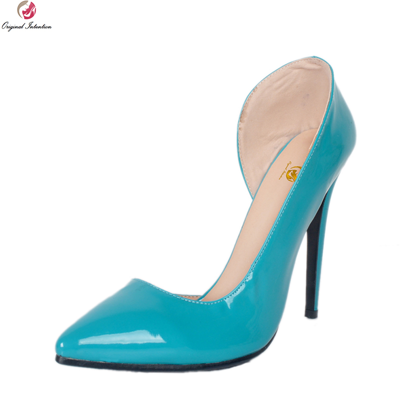 Original Intention New Concise Women Pumps Sexy Pointed Toe Thin High Heels Pumps Fashion Blue Shoes Woman Plus US Size 4-15Original Intention New Concise Women Pumps Sexy Pointed Toe Thin High Heels Pumps Fashion Blue Shoes Woman Plus US Size 4-15