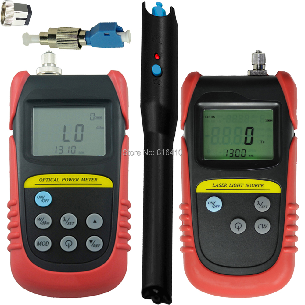 -70dB ~ +6dB, Optical Power Meter +850nm1300nm Fiber Optical  Laser Source+ 5mw Visual Fault Locator+ 1 pc FC to LC adapter