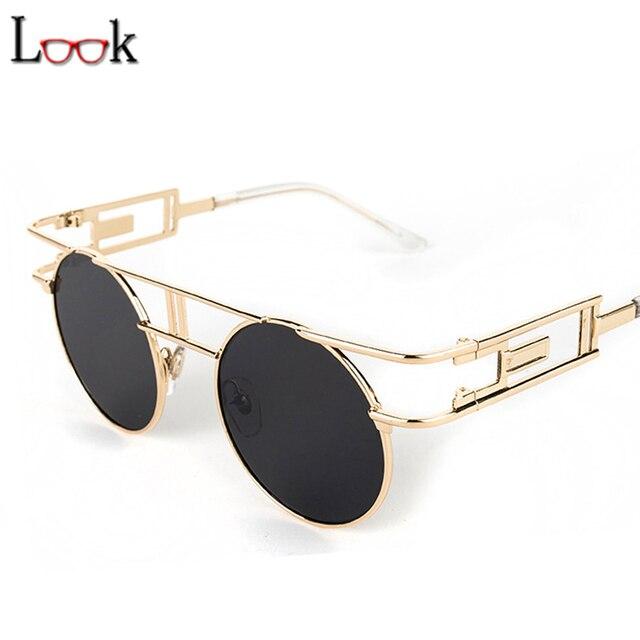 8b9d4c340f0ba Novo 2018 Gótico Do Vintage Steampunk óculos de Sol Zonnebril Redonda De  Metal Retro Óculos de