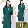 Vestido, women ' s Collar pliegue de la cintura lápiz mujeres vestidos Maxi verde de las mujeres vestidos