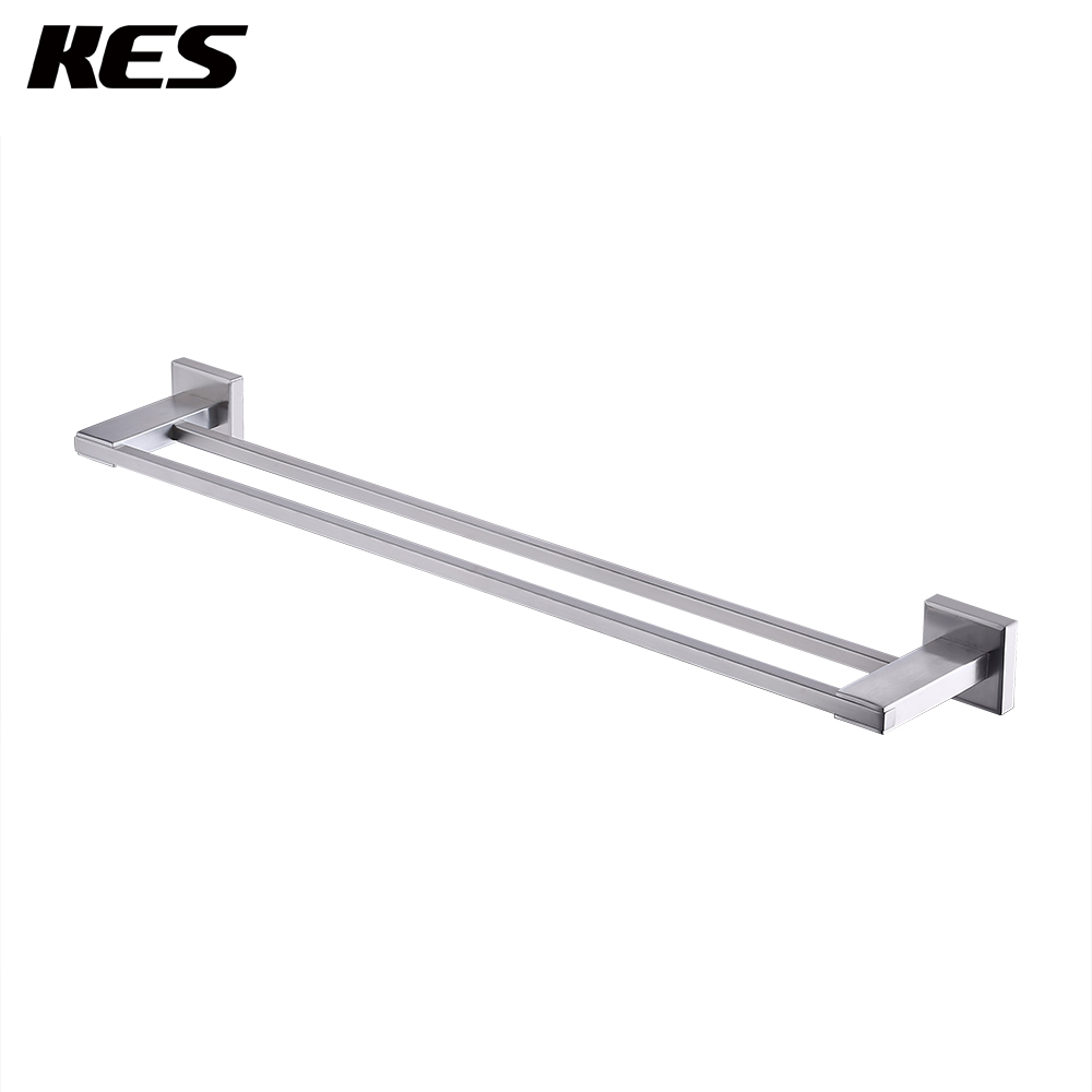 KES Double Towel Bar 23-inch SUS 304 Stainless Steel Wall Mounted Shelf Rack Contemporary Style, Polished/Brushed/Black, A2401KES Double Towel Bar 23-inch SUS 304 Stainless Steel Wall Mounted Shelf Rack Contemporary Style, Polished/Brushed/Black, A2401