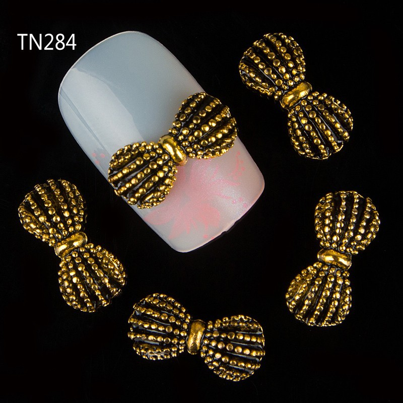 Enthusiastic Blueness 10pcs/lot Bronze Alloy Bow Nail Studs Nails Rhinestones 3d Tie Strass Manicure Decorations Nail Art Supplies Pure And Mild Flavor Nails Art & Tools
