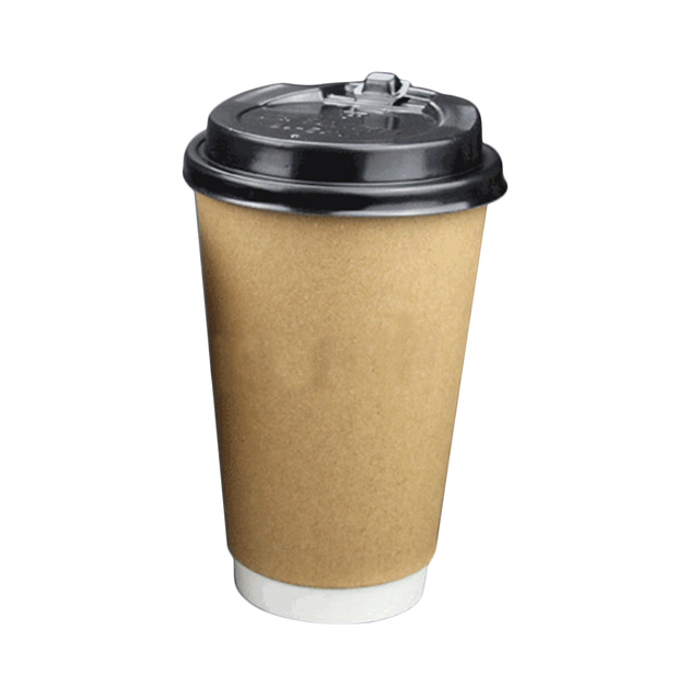 Hot Ing 50pcs Disposable Double Layer Kraft 400ml Paper Coffee Cups 90mm Dome