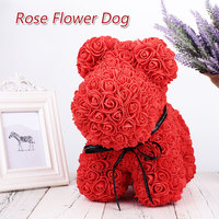 Rose Dog Cute Dolls Artificial Rose Flower DIY Toys PE Funny Gift Eternal Rose Dogs for Women Wife Birthday Anniversary Gift