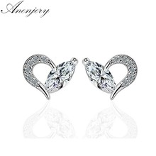 Anenjery – boucles d'oreilles en forme de cœur pour femmes, couleur argent, mosaïque en Zircon CZ