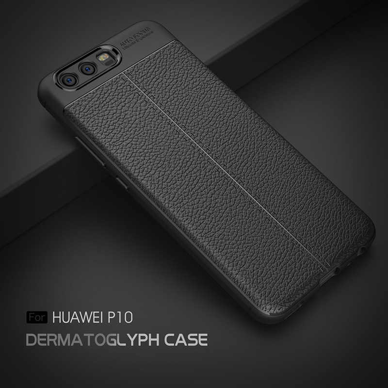 Shockproof For Huawei P10 Lite Soft TPU Silicone Bumper Case For Huawei P10 Plus P9 P8 Lite 2017 Rubber Litchi Leather Texture