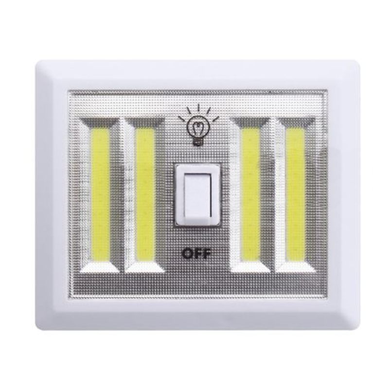 8W COB LED Switch Wall Night Lights Cordless Lamp Battery Operated Cabinet Garage Closet Camping Emergency Light