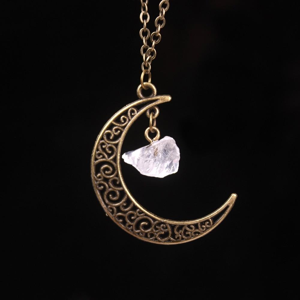 Vintage Galaxy Moon Kristal Aypara Bənövşəyi Qədim Tunc - Moda zərgərlik - Fotoqrafiya 5