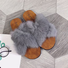 Women Fluffy Faux Fur Indoor Outdoor Flat Heel Sandals Slipper Casual Shoes High quality women shoes Slipper casual shoes Z#(China)
