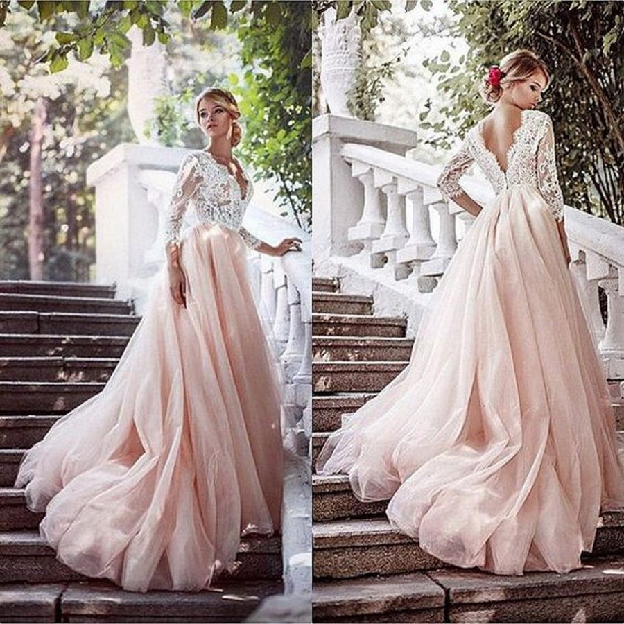 Pink Color Wedding Gown: Luxury Tulle Three Quarter Sleeve A Line Wedding Dress