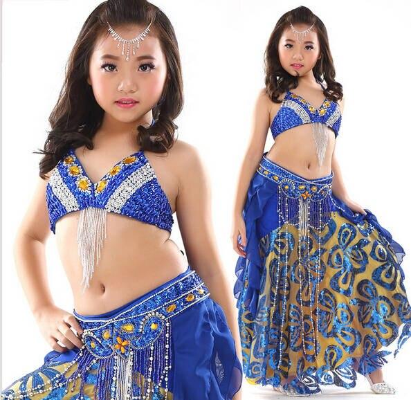 Nouveau design enfants danse du ventre costume ensemble 3 pièces/2 pièces indien haute classe enfants danse du ventre porter soutien-gorge et ceinture et jupe conçu pour fille
