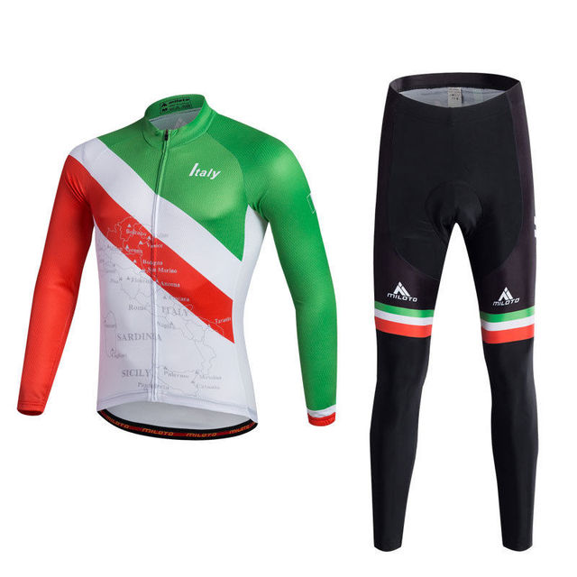 06610396d Italy Racing Team Clothing Bike Bicycle Cycling Jerseys and MTB GEL Padded  Pants Kit Men s Long Sleeve Sportswear Reflective
