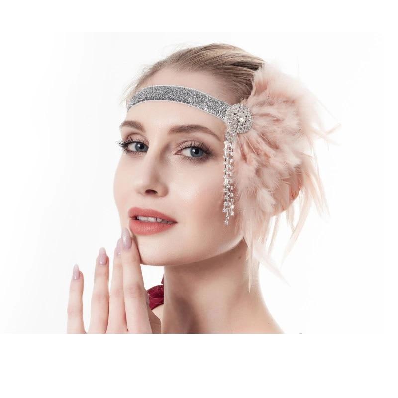 Women Feather Headband 20s Accessories Crystal Beaded Wedding Party Headpiece
