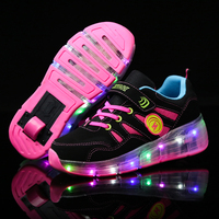 Children Wheel Shoes Boy & Girls LED Lamp Skating Shoes Kids Invisible Automatic Pulley Flash Roller Skates Sneakers Pink Blue